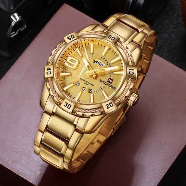 Массивные часы «Naviforce» золотого цвета с мощным браслетом купить. Цена 1499 грн