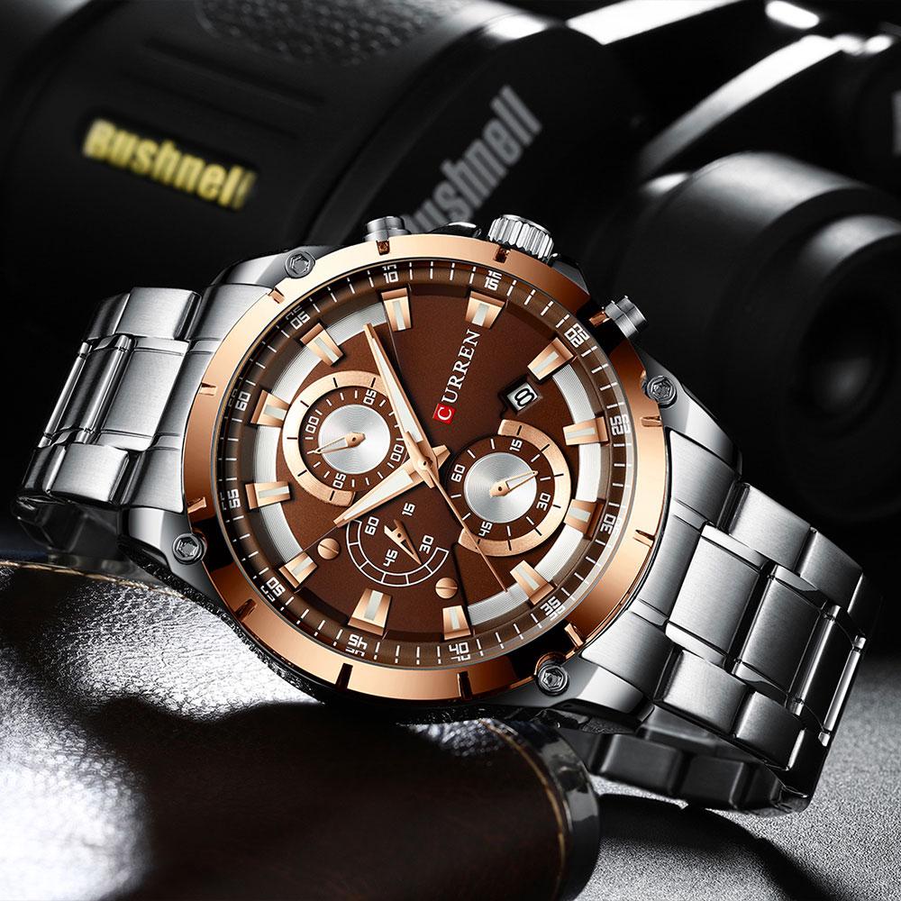 Классные мужские часы «Curren» с функцией хронографа и металлическим браслетом купить. Цена 1490 грн