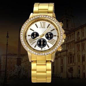 Деловые женские часы «Dgjud» с римскими цифрами, стразами и золотистым браслетом купить. Цена 290 грн