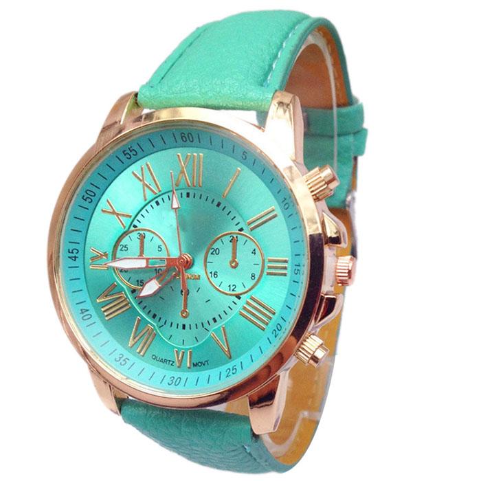 Популярные часы «Geneva» с золотистым корпусом и с циферблатом и ремешком мятного цвета купить. Цена 235 грн