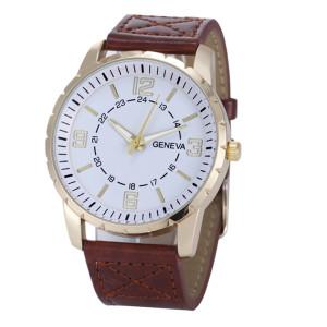 Красивые мужские часы «Geneva» с белым циферблатом в золотом корпусе и коричневым ремешком купить. Цена 265 грн