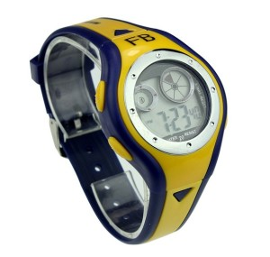 Сине-жёлтые мужские часы с подсветкой, будильником и секундомером фото. Купить