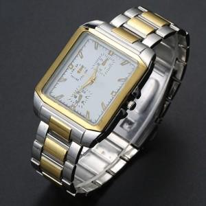 Стальные часы «Chance» с двухцветным прямоугольным корпусом и металлическим браслетом фото. Купить