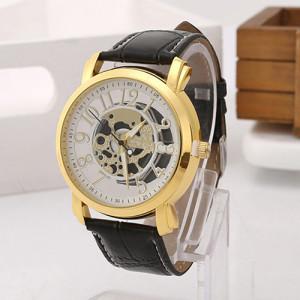 Модные часы «Viser» в стиле скелетон с золотым корпусом и чёрным ремешком купить. Цена 285 грн
