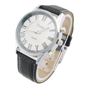 Аккуратные мужские часы «Dalas» с римскими цифрами на белом циферблате и чёрным ремешком фото. Купить