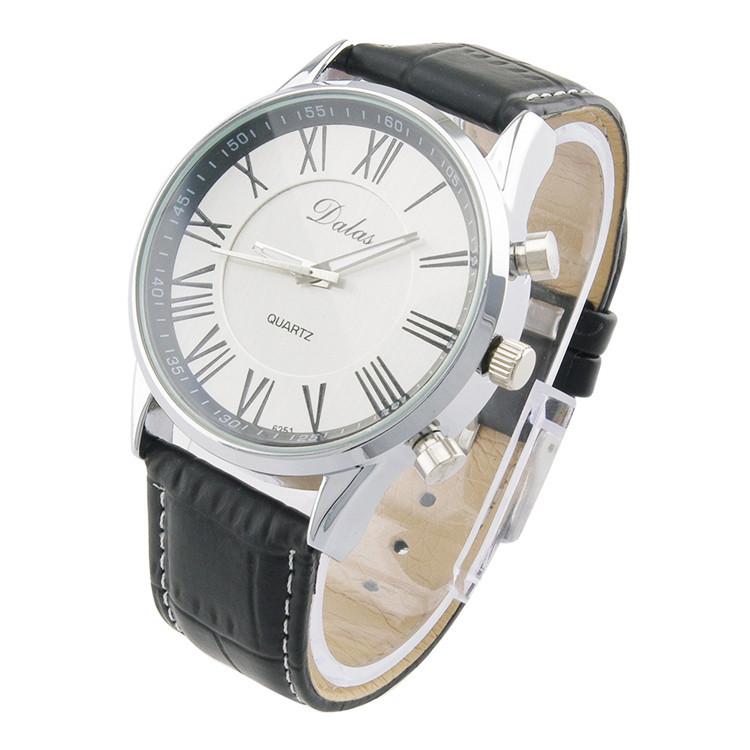 Аккуратные мужские часы «Dalas» с римскими цифрами на белом циферблате и чёрным ремешком купить. Цена 235 грн