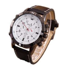 Крутые мужские часы «WEITE» большого размера с толстым чёрным ремешком фото. Купить