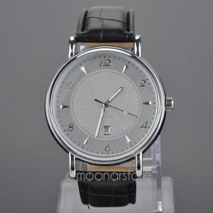 Крупные наручные часы «Faleidu» серебряного цвета с датой и качественным чёрным ремешком купить. Цена 330 грн