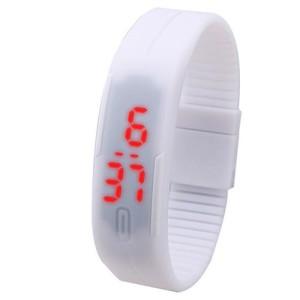 Популярные LED-часы белого цвета в виде браслета из силикона фото. Купить