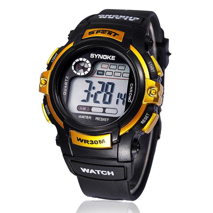 Электронные часы «Synoke» чёрного цвета с золотыми вставками и каучуковым ремешком купить. Цена 270 грн