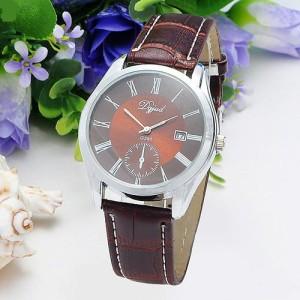 Деловые часы «Dgjud» с римскими цифрами на коричневом циферблате с индикацией даты фото. Купить