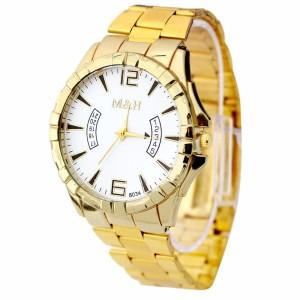 Крупные часы «M&H» золотого цвета с металлическим браслетом и кварцевым механизмом купить. Цена 290 грн