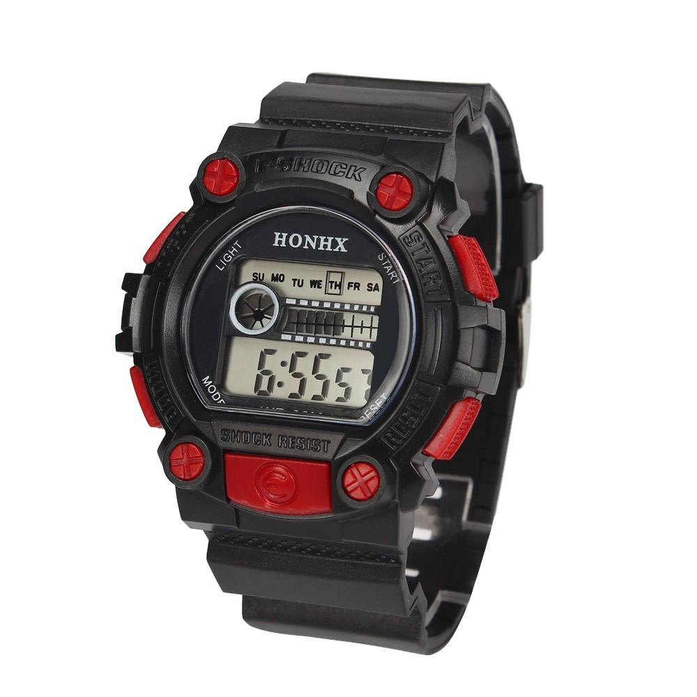 Отличные спортивные часы «Honhx» чёрного цвета с красными вставками и мягким ремешком купить. Цена 235 грн