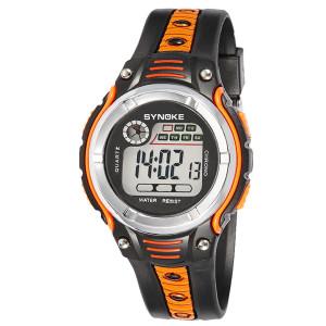 Оранжевые часы «Synoke» в стиле спорт с подсветкой, календарём и будильником фото. Купить