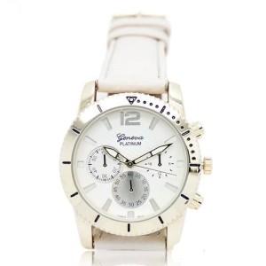 Повседневные кварцевые часы «Geneva» с белым ремешком и золотистым корпусом фото. Купить