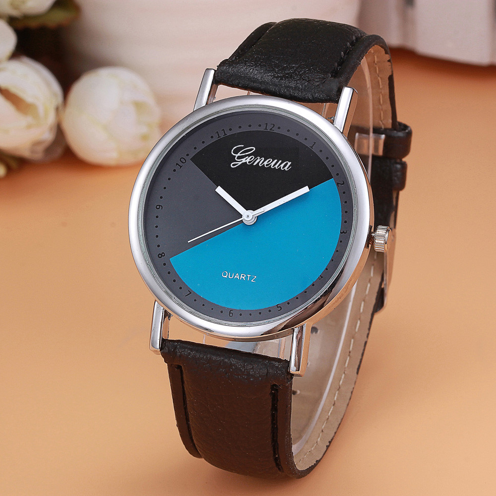 Недорогие часы «Geneva» с необычным циферблатом и чёрным ремешком купить. Цена 190 грн