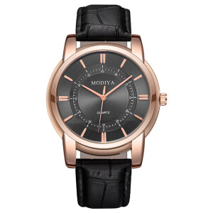 Деловые часы «Modiya» классического дизайна с мягким чёрным ремешком купить. Цена 350 грн