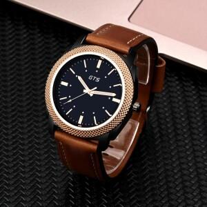 Качественные мужские часы «GTS» с двухцветным корпусом и рыжим ремешком купить. Цена 360 грн