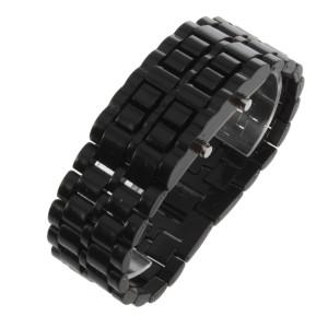 Мужские модные LED-часы из гладкого чёрного пластика с красной подсветкой фото. Купить