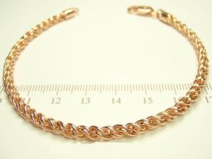 Круглый браслет с оригинальным плетением верёвка и покрытием из розового золота купить. Цена 240 грн или 750 руб.