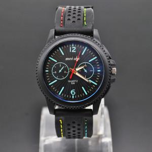 Матовые часы «Mei Shi» чёрного цвета с мягким силиконовым ремешком фото. Купить