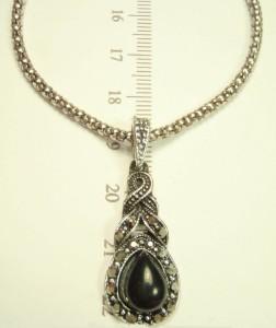 Подвеска «Оклахома» с чешским стеклом, чёрным камнем и покрытием под серебро купить. Цена 79 грн