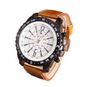 Огромные мужские часы «WEITE» с чёрным корпусом и толстым рыжим ремешком купить. Цена 299 грн