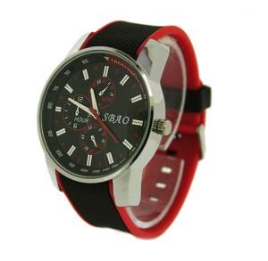 Стильные мужские часы «SBAO» спортивного дизайна с красно-чёрным каучуковым ремешком фото. Купить