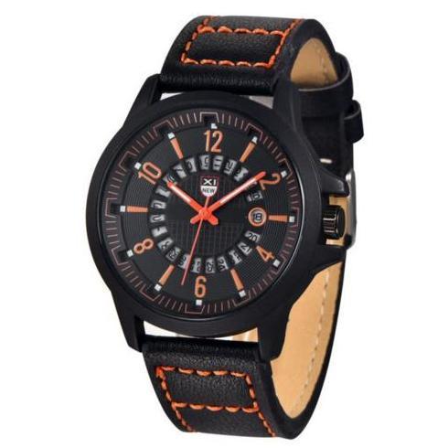 Эффектные чёрные часы «XINEW» с оранжевыми цифрами и активным окошком даты купить. Цена 399 грн