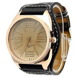 Брутальные мужские часы «Geneva» с большим корпусом и широким чёрным ремешком фото. Купить