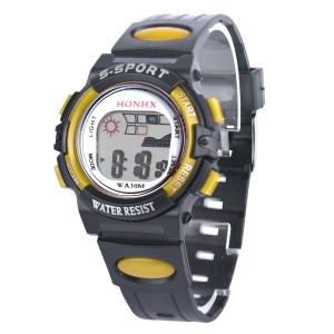 Небольшие часы «Honhx» из чёрного пластика с желтыми вставками и каучуковым ремешком фото. Купить