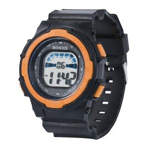 Добротные часы «Honhx» чёрного цвета с оранжевой вставкой и каучуковым ремешком фото. Купить