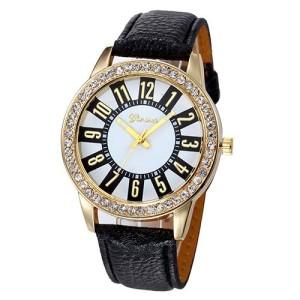 Кварцевые женские часы «Geneva» с красивым циферблатом, стразами на корпусе и чёрным ремешком купить. Цена 199 грн
