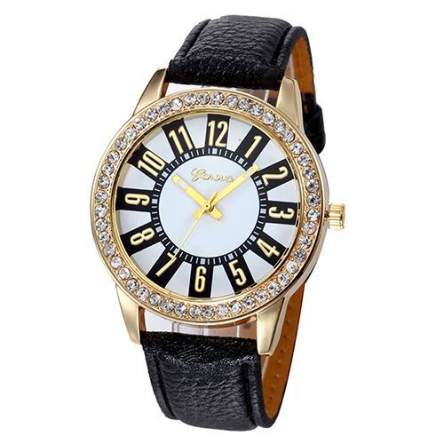 Кварцевые женские часы «Geneva» с красивым циферблатом, стразами на корпусе и чёрным ремешком купить. Цена 245 грн