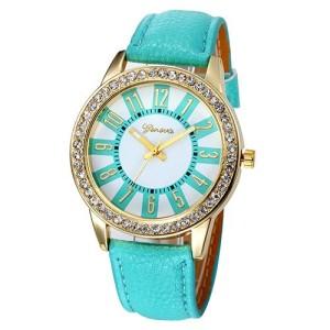 Обаятельные женские часы «Geneva» приятного мятного цвета со стразами на корпусе фото. Купить
