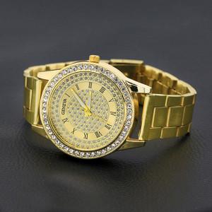 Роскошные часы «Geneva» золотого цвета с россыпью из страз и металлическим браслетом купить. Цена 280 грн