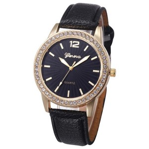 Лаконичные женские часы «Geneva» с чёрным циферблатом и золотыми метками вместо цифр фото. Купить