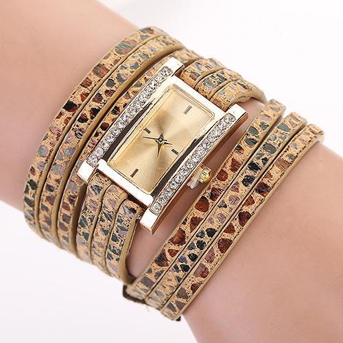 Очаровательные часы «Geneva» прямоугольной формы с красивым длинным тройным ремешком купить. Цена 275 грн