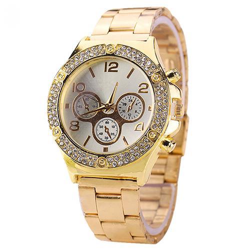 Красивые женские часы «Kanima» с полосой из страз вокруг циферблата и золотым браслетом купить. Цена 385 грн