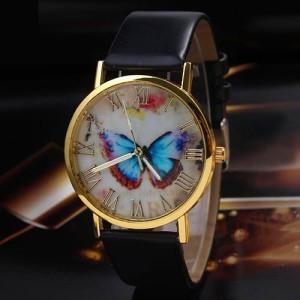 Недорогие часы «Geneva» с красивым циферблатом с изображением бабочки и чёрным ремешком купить. Цена 135 грн