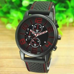 Отличные мужские часы «Sanwood» в спортивном стиле с качественным силиконовым ремешком фото. Купить
