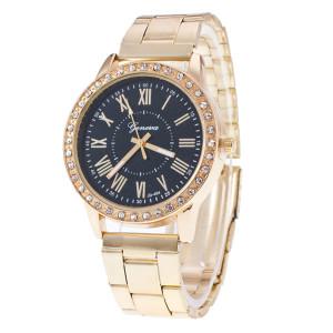 Аккуратные женские часы «Geneva» с римскими цифрами на чёрном циферблате купить. Цена 260 грн