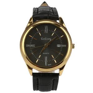 Стильные мужские часы «GoGoey» с рельефным золотым корпусом и чёрным ремешком фото. Купить
