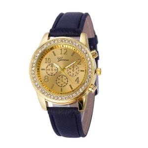 Отличные женские часы «Geneva» с золотым корпусом со стразами и чёрным ремешком купить. Цена 180 грн
