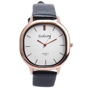Строгие женские часы «GoGoey» необычной формы с белым циферблатом и чёрным ремешком фото. Купить