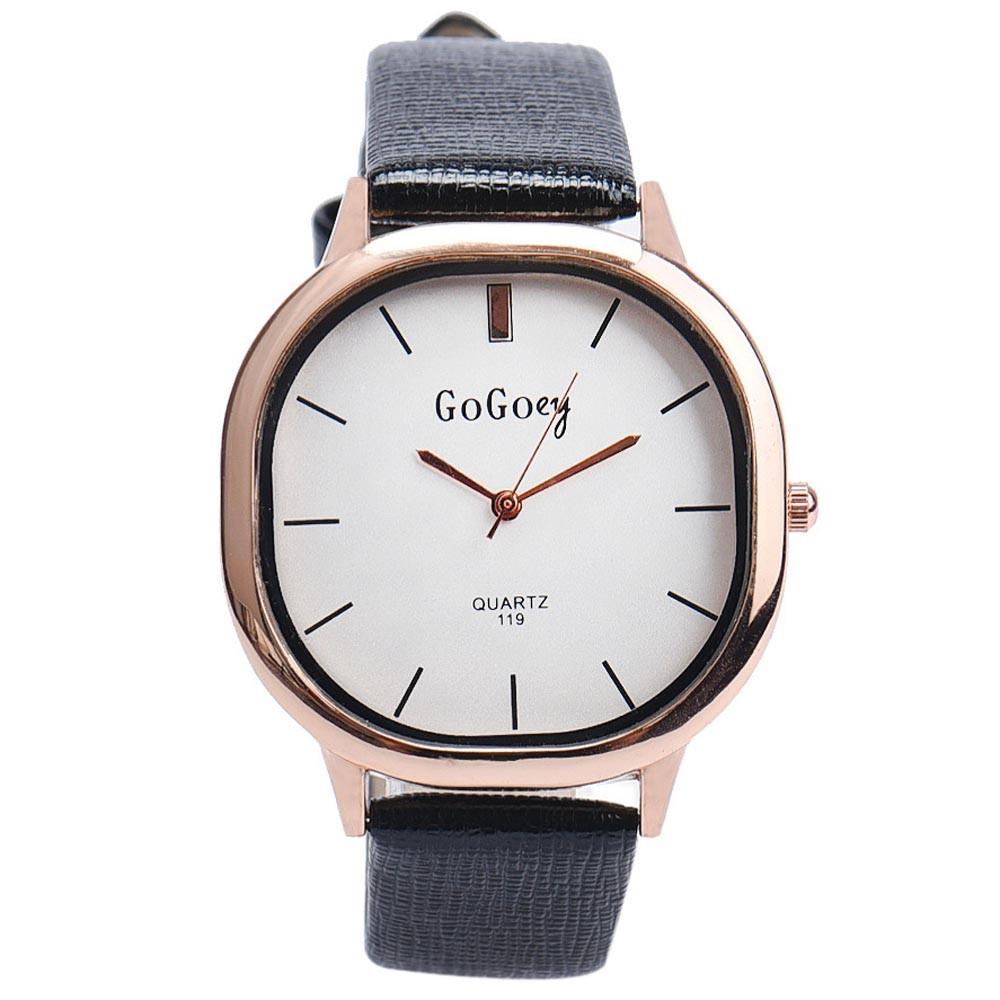 Строгие женские часы «GoGoey» необычной формы с белым циферблатом и чёрным ремешком купить. Цена 299 грн