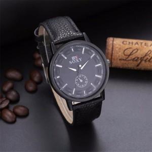 Интересные мужские часы «SOXY» чёрного цвета с белыми метками вместо цифр фото. Купить