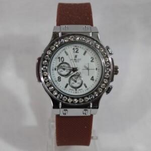 Женские часы «Hublot» с коричневым силиконовым ремешком фото. Купить