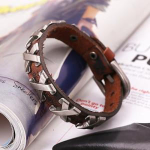 Красивый браслет из кожи рыже-коричневого цвета с металлическими вставками купить. Цена 185 грн