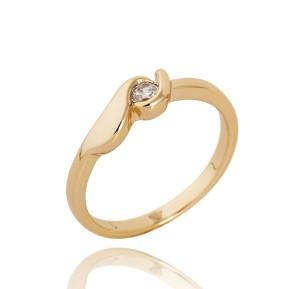 Тонкое кольцо простой формы с маленьким цирконом и качественной позолотой фото. Купить